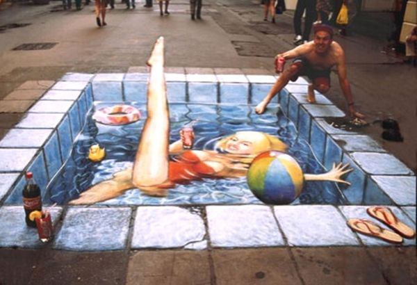 3D Chalk Drawing  par Julian Beever - Piscine
