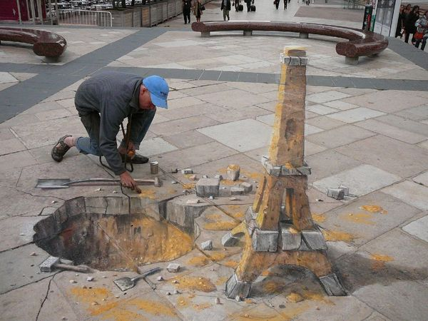 3D Chalk Drawing par Julian Beever - Tour Eiffel